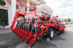 Brand new red agricultural seeder. Stock Image