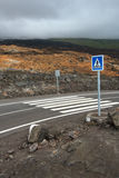 Brand new road on a volcano Stock Photo
