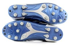 Brand new Shiny Blue Soccer boots / shoes Stock Photos