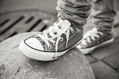 Brand new shoes, urban walking theme Stock Photography