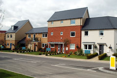 Brand new show homes. On a new housing development near London royalty free stock photography