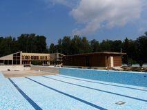 Brand new swimming pool. Building a brand new swimming pool with facilities Royalty Free Stock Images