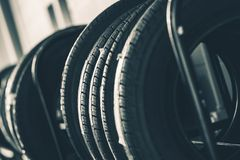 Brand New Tires Rack Stock Photography