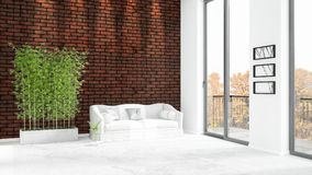 Brand new white loft bedroom minimal style interior design with copyspace wall and view out of window. 3D Rendering. Royalty Free Stock Images
