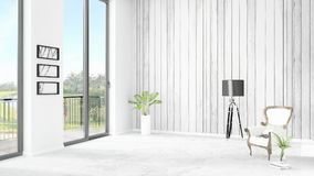 Brand new white loft bedroom minimal style interior design with copyspace wall and view out of window. 3D Rendering. Royalty Free Stock Photography