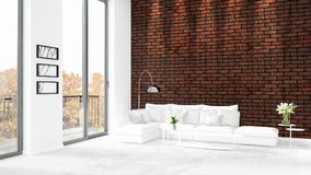 Brand new white loft bedroom minimal style interior design with copyspace wall and view out of window. 3D Rendering. Stock Image