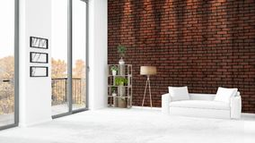 Brand new white loft bedroom minimal style interior design with copyspace wall and view out of window. 3D Rendering. Stock Photography