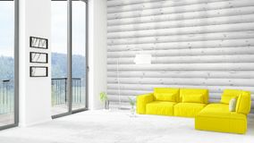 Brand new white loft bedroom minimal style interior design with copyspace wall and view out of window. 3D Rendering. Brand new white loft bedroom or livingroom Royalty Free Stock Image