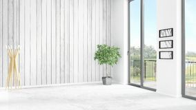 Brand new white loft bedroom minimal style interior design with copyspace wall and view out of window. 3D Rendering. Brand new white loft bedroom or livingroom Royalty Free Stock Images
