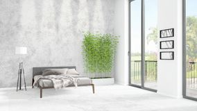 Brand new white loft bedroom minimal style interior design with copyspace wall and view out of window. 3D Rendering. Brand new white loft bedroom or livingroom Royalty Free Stock Photography