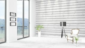 Brand new white loft bedroom minimal style interior design with copyspace wall and view out of window. 3D Rendering. Stock Photo