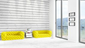 Brand new white loft bedroom minimal style interior design with copyspace wall and view out of window. 3D Rendering. Brand new white loft bedroom or livingroom Stock Photos