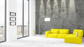 Brand new white loft bedroom minimal style interior design with copyspace wall and view out of window. 3D Rendering. Brand new white loft bedroom or livingroom Stock Image