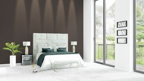 Brand new white loft bedroom minimal style interior design with copyspace wall and view out of window. 3D Rendering. Brand new white loft bedroom or livingroom Stock Photo