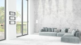 Brand new white loft bedroom minimal style interior design with copyspace wall and view out of window. 3D Rendering. Brand new white loft bedroom or livingroom vector illustration