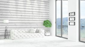 Brand new white loft bedroom minimal style interior design with copyspace wall and view out of window. 3D Rendering. Royalty Free Stock Image