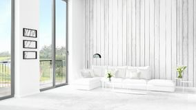 Brand new white loft bedroom minimal style interior design with copyspace wall and view out of window. 3D Rendering. Royalty Free Stock Photos