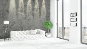 Brand new white loft bedroom minimal style interior design with copyspace wall and view out of window. 3D Rendering. Stock Images