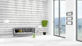 Brand new white loft bedroom minimal style interior design with copyspace wall and view out of window. 3D Rendering. Stock Photos
