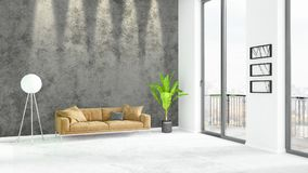 Brand new white loft bedroom minimal style interior design with copyspace wall and view out of window. 3D Rendering. Brand new white loft bedroom or livingroom Stock Photography