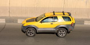 BRAND NEW yellow CAR Royalty Free Stock Photos