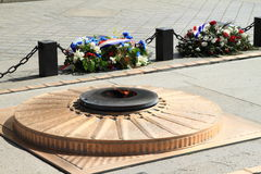 Brand och blommor under Arc de Triomphe Arkivfoton