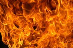 Brand och flammor, gasexplosion arkivfoto