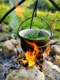 brand och krukan över branden, i krukan bryggade mintkaramellgräs, branden omges av stora stenar arkivfoton