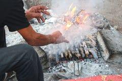 Brand och matlagning på stranden royaltyfria foton