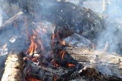 Brand och vedträ Arkivfoto