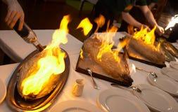 Brand op een vis Stock Afbeeldingen