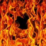 Brand op een zwarte Stock Afbeelding