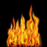 Brand op een Zwarte Achtergrond Stock Afbeeldingen