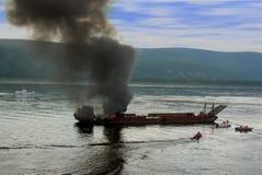 Brand op schip royalty-vrije stock afbeeldingen