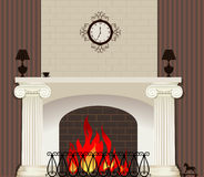 Brand in open haard Stock Afbeeldingen