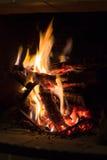 Brand in open haard Stock Foto
