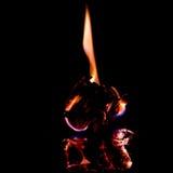 Brand på brännskadapapper med svart bakgrund slapp fokus Royaltyfri Fotografi