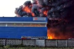 Brand på den industriella zonen Arkivfoton
