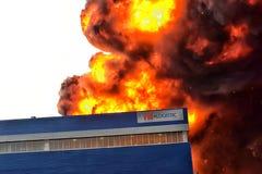 Brand på den industriella zonen Royaltyfri Fotografi