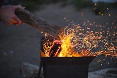 Brand på en strand fotografering för bildbyråer