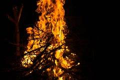 Brand på natten nära floden Arkivfoto