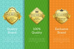 Brand 100 Quality Exclusive Golden Best Labels. Brand 100 quality exclusive guarantee premium golden labels sticker awards, vector illustration certificates Royalty Free Stock Images
