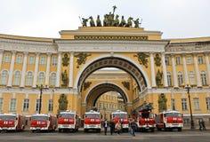 Brand & räddningsaktion St Petersburg, Ryssland Arkivfoton