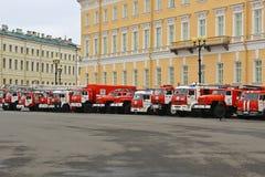 Brand & räddningsaktion St Petersburg, Ryssland Fotografering för Bildbyråer