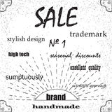 Brand, selling stylish design. Brand, selling excellent quality stylish design, trademark or brochure. Vintage retro background Stock Images