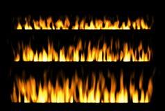 Brand som isoleras på svart bakgrund, brandbeståndsdelar, brandram Royaltyfri Foto