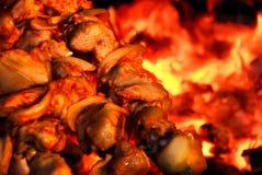 brand stekt meat arkivfoton