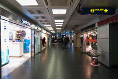 Brand stores at the airport. LINATE, ITALY - CIRCA JANUARY 2016: brand stores at the airport of Milano Linate Royalty Free Stock Photography