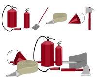 Brand-stridighet utrustning royaltyfri illustrationer