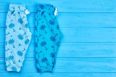 Brand summer blue baby pants. Royalty Free Stock Image